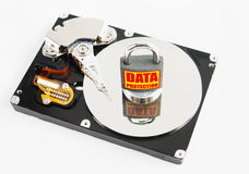 Locked padlock over hard disk drive Royalty Free Stock Image