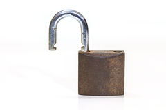 Locked padlock over white background Stock Image