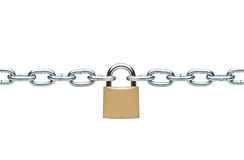 Locked padlock with silver chains stock image