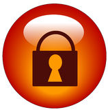 Locked padlock web button Stock Photography