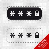 Locked Password Fields - Vector Icons - Isolated On Transparent Background Royalty Free Stock Photo