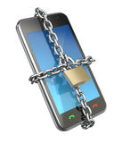 Locked phone. 3D concept with the phone and chain Royalty Free Stock Photography