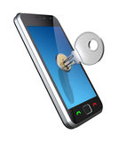 Locked phone. 3D concept with the phone and key Stock Image