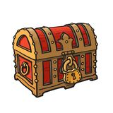 Locked pirate treasure chests with golden lock. Cartoon style hand drawn vector illustration isolated on white. Locked pirate treasure chests with golden lock stock illustration