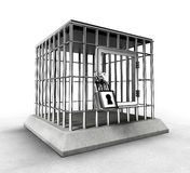 Locked prison cage with heavy metal bars Stock Image
