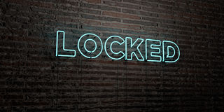 LOCKED -Realistic Neon Sign on Brick Wall background - 3D rendered royalty free stock image Stock Photography