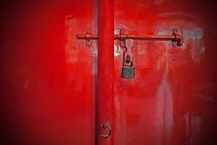 Locked red door, China Royalty Free Stock Photo