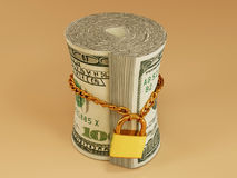 Locked roll of dollar. 3d Royalty Free Stock Photos