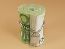 Locked roll of euro Royalty Free Stock Photo
