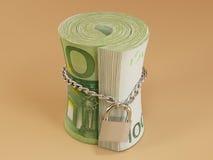 Locked roll of euro Royalty Free Stock Photo