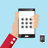 Locked screen smartphone in hand. Security locked screen smartphone in hand vector illustration Stock Photo