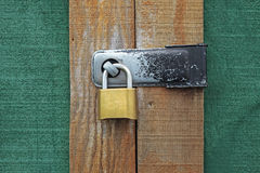 Locked shed door. Locked and brightly colored shed door Stock Images