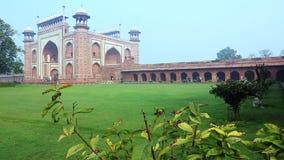 Locked-on shot of the Great Gate (Darwaza-i rauza) the main entrance to the Taj Mahal, Agra, Uttar Pradesh, India stock footage