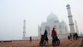 Locked-on shot of tourists at Taj Mahal, Agra, Uttar Pradesh, India stock footage