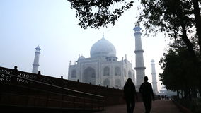Locked-on shot of tourists at Taj Mahal, Agra, Uttar Pradesh, India stock video footage