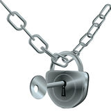 Locked silver  chain Stock Photography