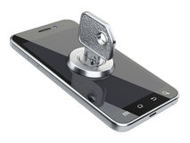 Locked smartphone with key. Security concept. Isolated on a white background 3d image