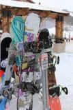 Locked Snowboards? Royalty Free Stock Image