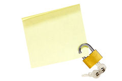 Locked sticky note Stock Image