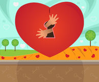 Locked. Surreal illustration of a heart with a lock and hands that are coming out of it. Eps10 royalty free illustration