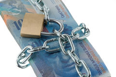 Locked Swiss Currency Royalty Free Stock Images