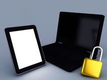 Locked tablet pc and Laptop Stock Image