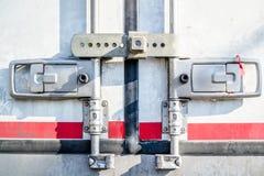 Locked truck doors. Truck or lorry doors locked Royalty Free Stock Image