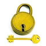 Locked/Unlocked. The Lock And The Key Isolated Over White Stock Photography