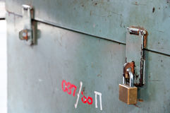 Locked and unlocked box Royalty Free Stock Image