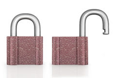 Locked and unlocked Stock Photography