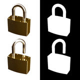 Locked and Unlocked Metallic Locks Royalty Free Stock Photography
