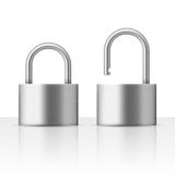 Locked and unlocked padlock vector illustration security concept Royalty Free Stock Images