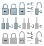 Locked or unlocked padlocks for secure web transaction Stock Image