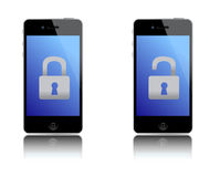 Locked and unlocked phones illustration design Royalty Free Stock Photography