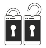 Locked and unlocked smart phone Royalty Free Stock Images