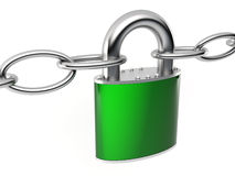 Locked up. Padlock and shackles on white background Stock Photos