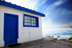 Locked up beach cottage - copyspace Stock Photo