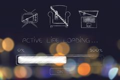 Locked up couch, tv and laptop with Active Life Loading progress. Active life loading: progress bar with lock and chain on a couch, tv and laptop Royalty Free Stock Image