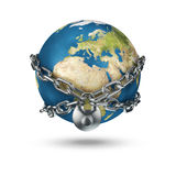 Locked up Earth. 3D render of chain securing planet Earth Stock Photography