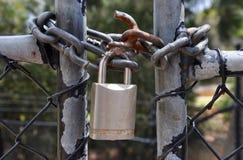 Locked Up: Lock and Chain Closeup Royalty Free Stock Photo