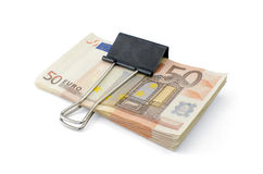 Locked up Money. Tightening up on your money. Euro banknotes Royalty Free Stock Photography