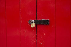 Locked up red door Royalty Free Stock Images