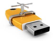 Locked usb flash drive Stock Photo