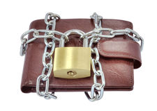 Locked wallet. Isolated locked wallet over white background Royalty Free Stock Photos