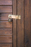 Locked. Wood door of a woodhouse in garden Royalty Free Stock Photo