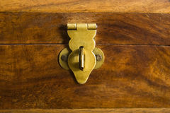 Locked wooden box Stock Photography