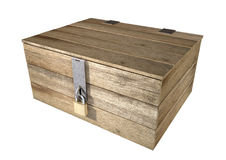 Locked Wooden Chest. A rough wooden planked box with a lid on hinges locked by a brass padlock and a hasp on an isolated background Stock Photos