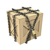 Locked Wooden Crate royalty free illustration