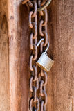 Locked wooden a door Royalty Free Stock Image