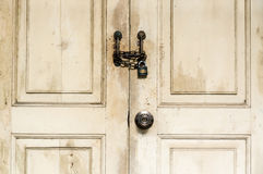Locked wooden door Royalty Free Stock Photos
